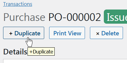 Duplicate Purchase