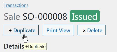 Duplicate Sale