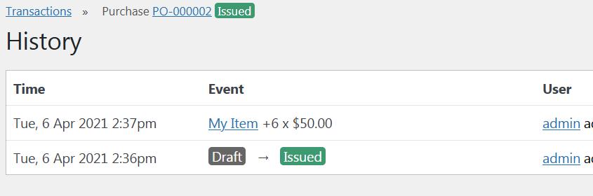 Transaction Update Log