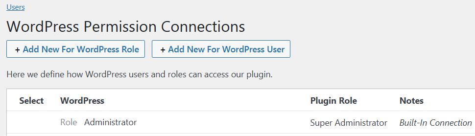 Permission connections